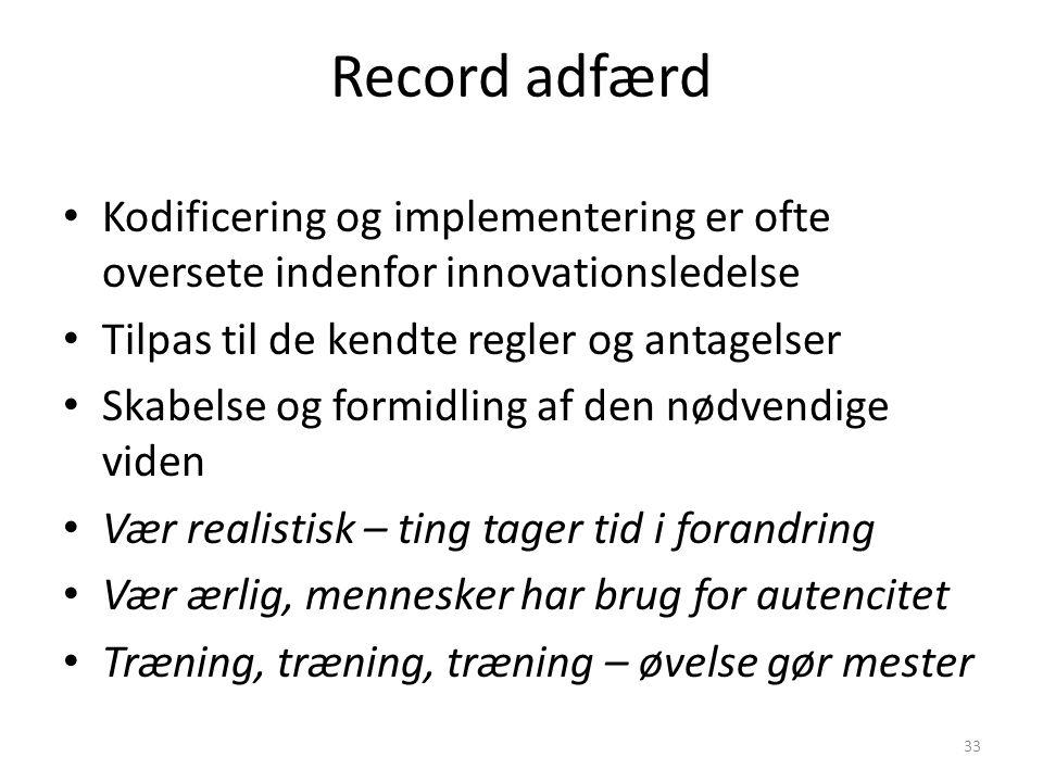 Record adfærd Kodificering og implementering er ofte oversete indenfor innovationsledelse. Tilpas til de kendte regler og antagelser.