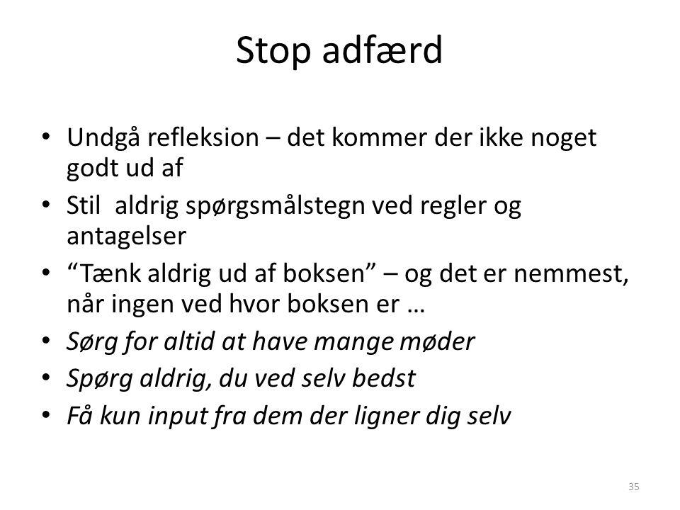 Stop adfærd Undgå refleksion – det kommer der ikke noget godt ud af