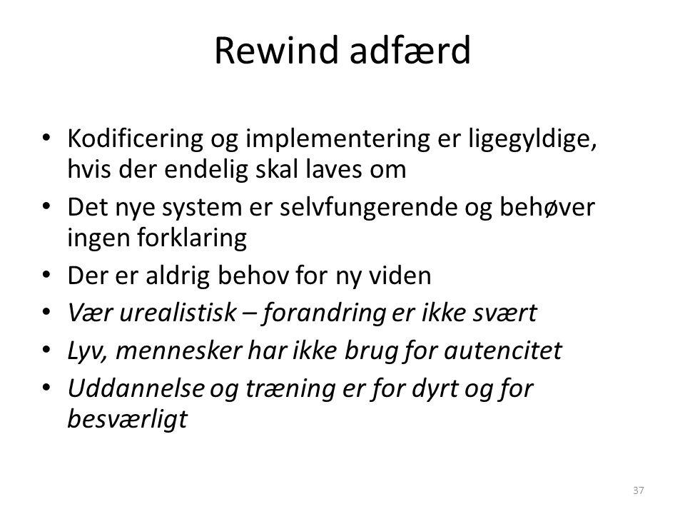 Rewind adfærd Kodificering og implementering er ligegyldige, hvis der endelig skal laves om.
