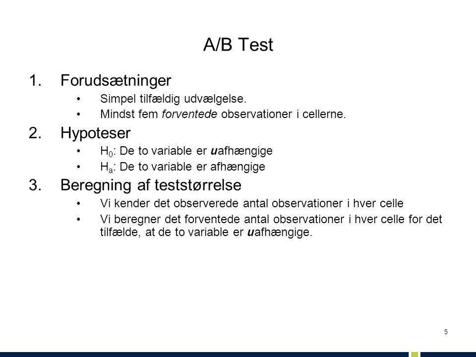 A/B Test Forudsætninger Hypoteser Beregning af teststørrelse