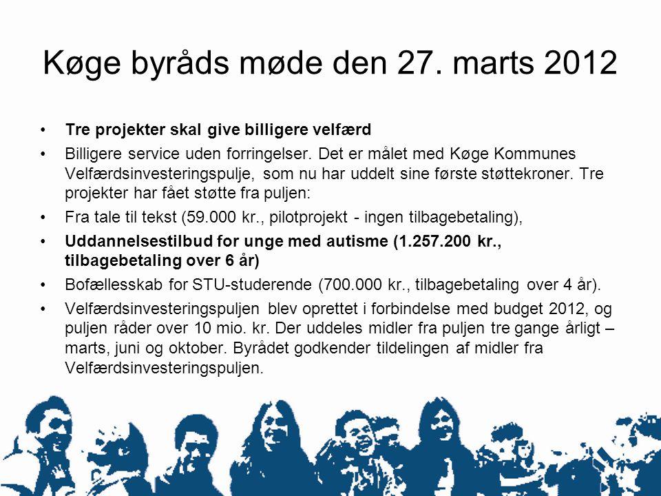 Køge byråds møde den 27. marts 2012