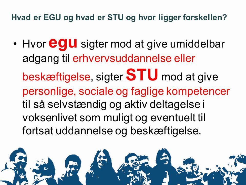 Hvad er EGU og hvad er STU og hvor ligger forskellen