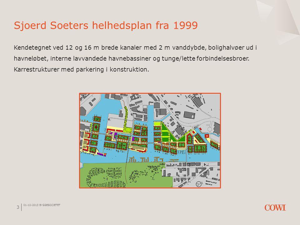 Sjoerd Soeters helhedsplan fra 1999 Kendetegnet ved 12 og 16 m brede kanaler med 2 m vanddybde, bolighalvøer ud i havneløbet, interne lavvandede havnebassiner og tunge/lette forbindelsesbroer. Karrestrukturer med parkering i konstruktion.