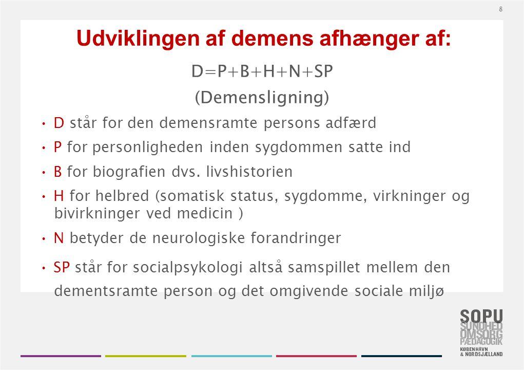 Udviklingen af demens afhænger af: