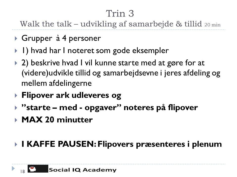 Trin 3 Walk the talk – udvikling af samarbejde & tillid 20 min