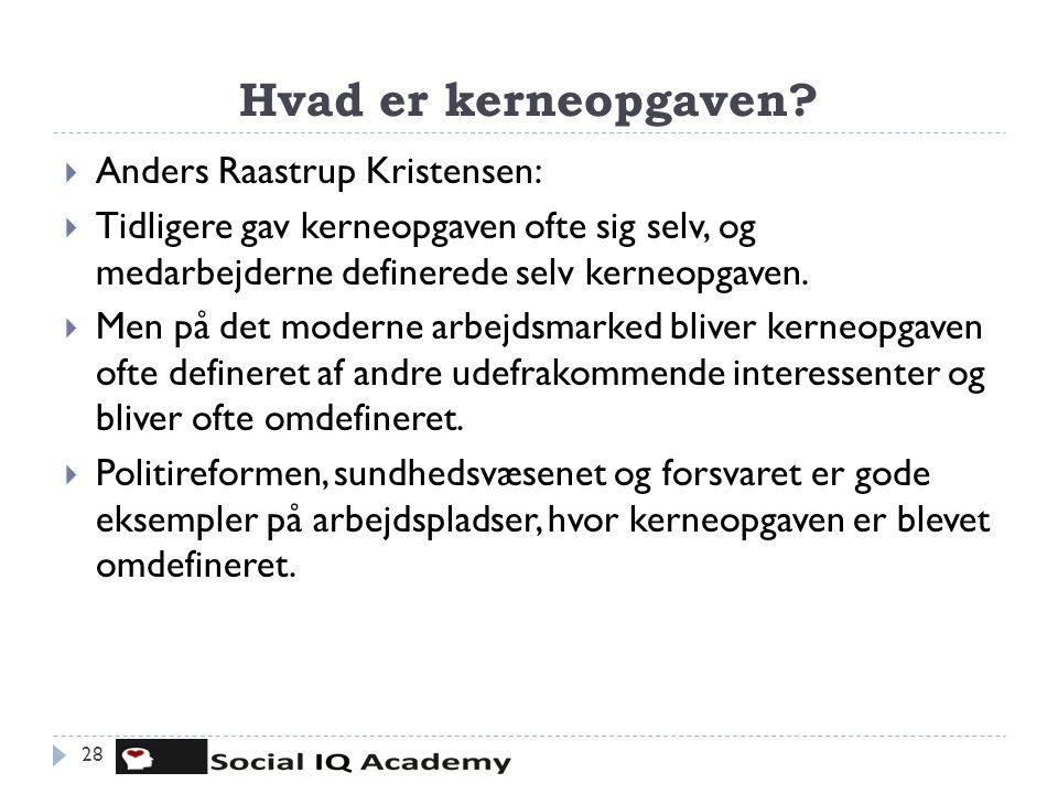 Hvad er kerneopgaven Anders Raastrup Kristensen: