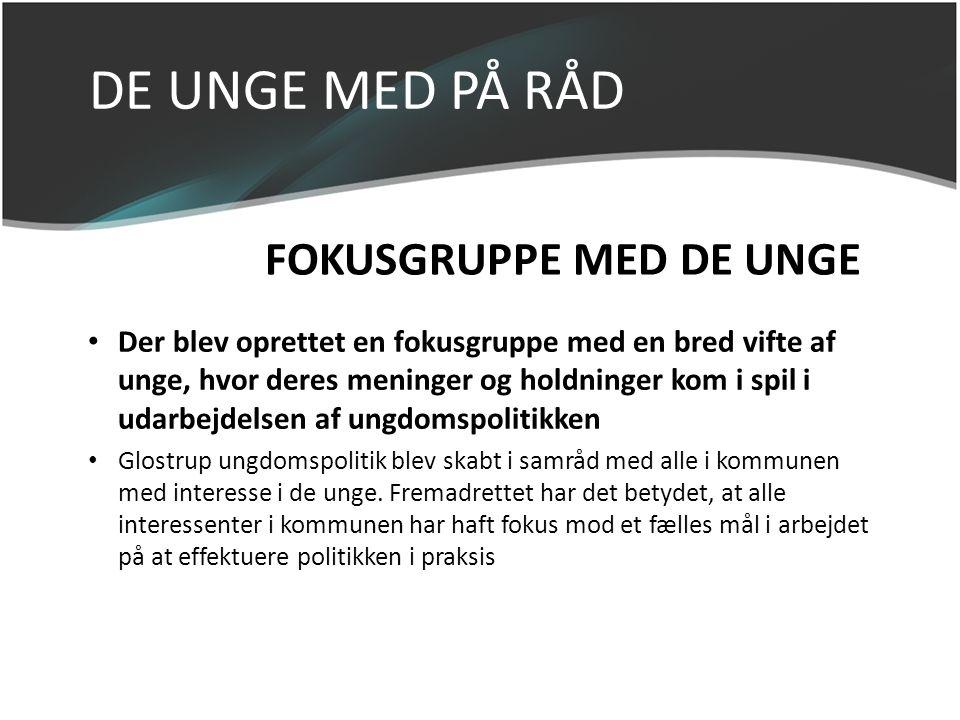 DE UNGE MED PÅ RÅD FOKUSGRUPPE MED DE UNGE