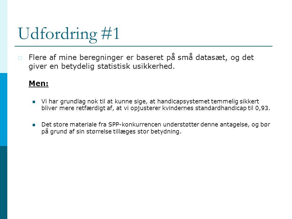 Udfordring #1 Flere af mine beregninger er baseret på små datasæt, og det giver en betydelig statistisk usikkerhed. Men: