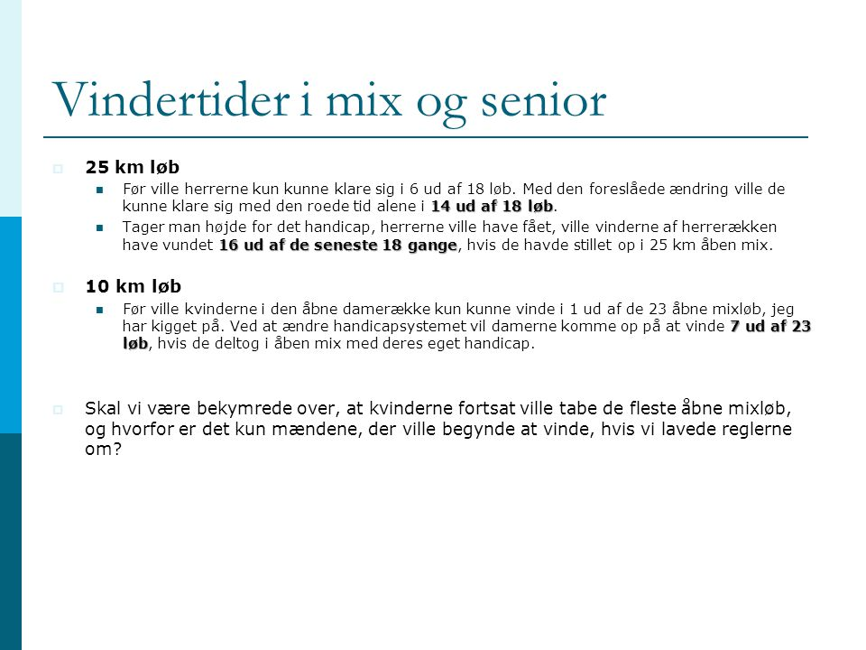 Vindertider i mix og senior