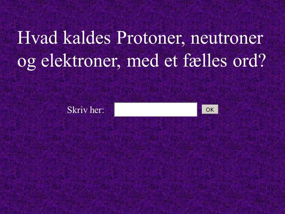 Hvad kaldes Protoner, neutroner og elektroner, med et fælles ord
