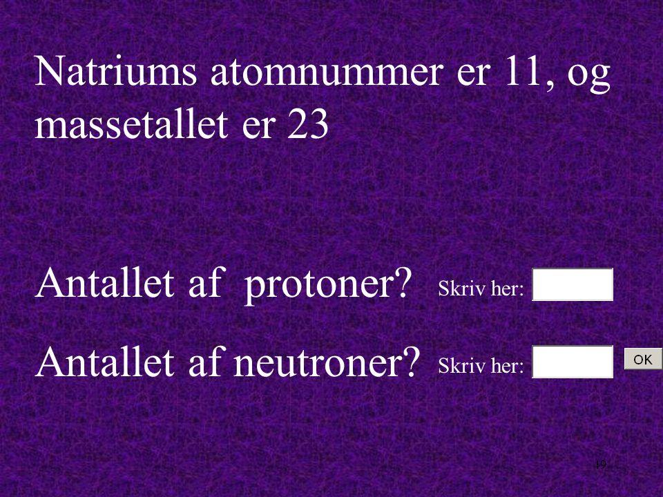 Natriums atomnummer er 11, og massetallet er 23