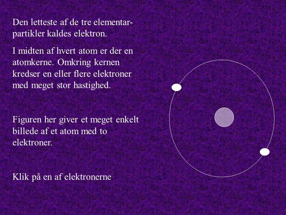 Den letteste af de tre elementar-partikler kaldes elektron.