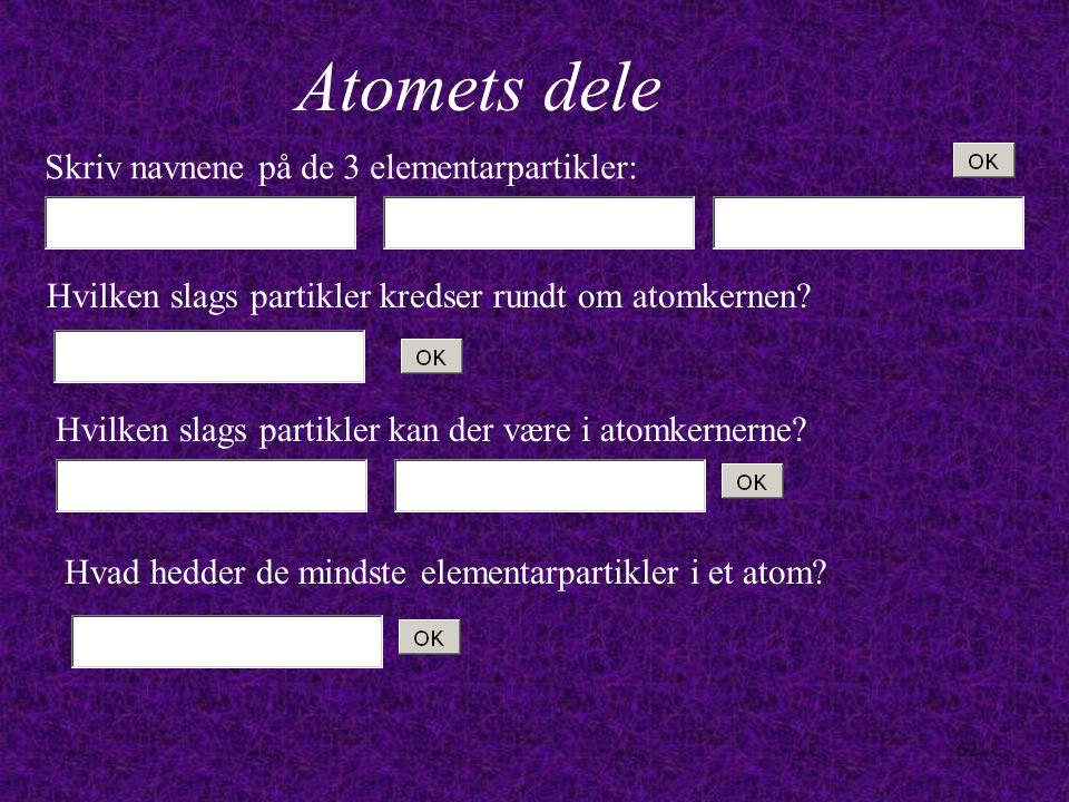 Atomets dele Skriv navnene på de 3 elementarpartikler:
