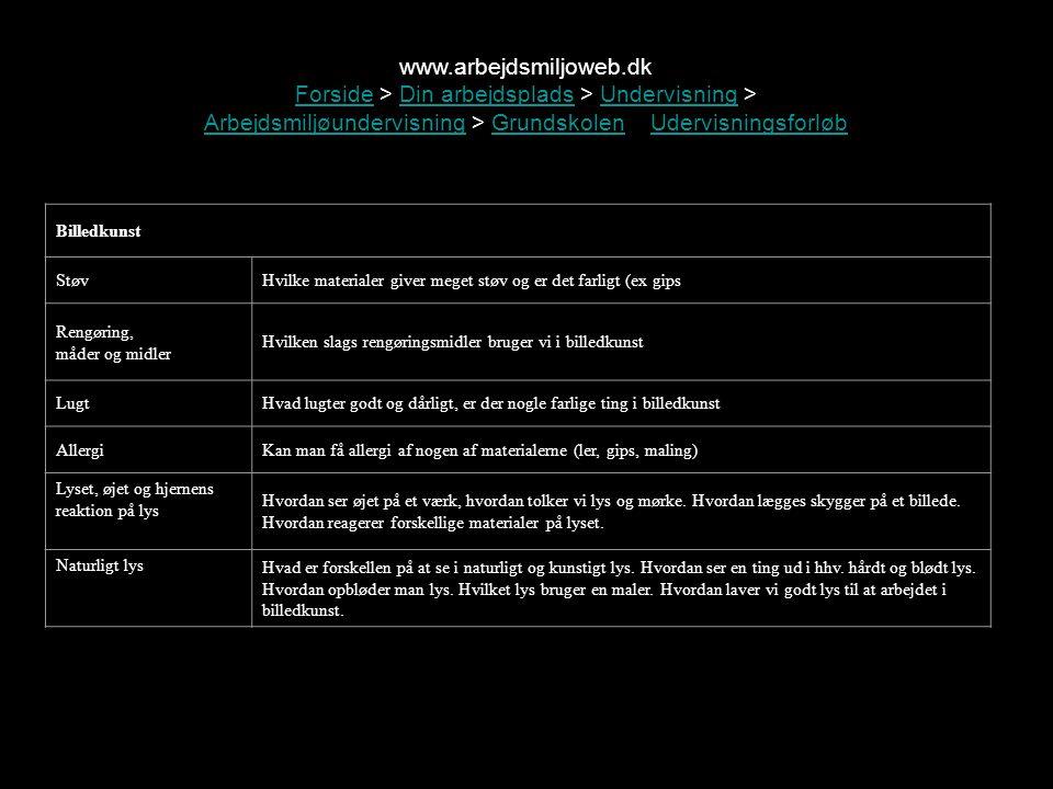 www.arbejdsmiljoweb.dk Forside > Din arbejdsplads > Undervisning > Arbejdsmiljøundervisning > Grundskolen > Udervisningsforløb.