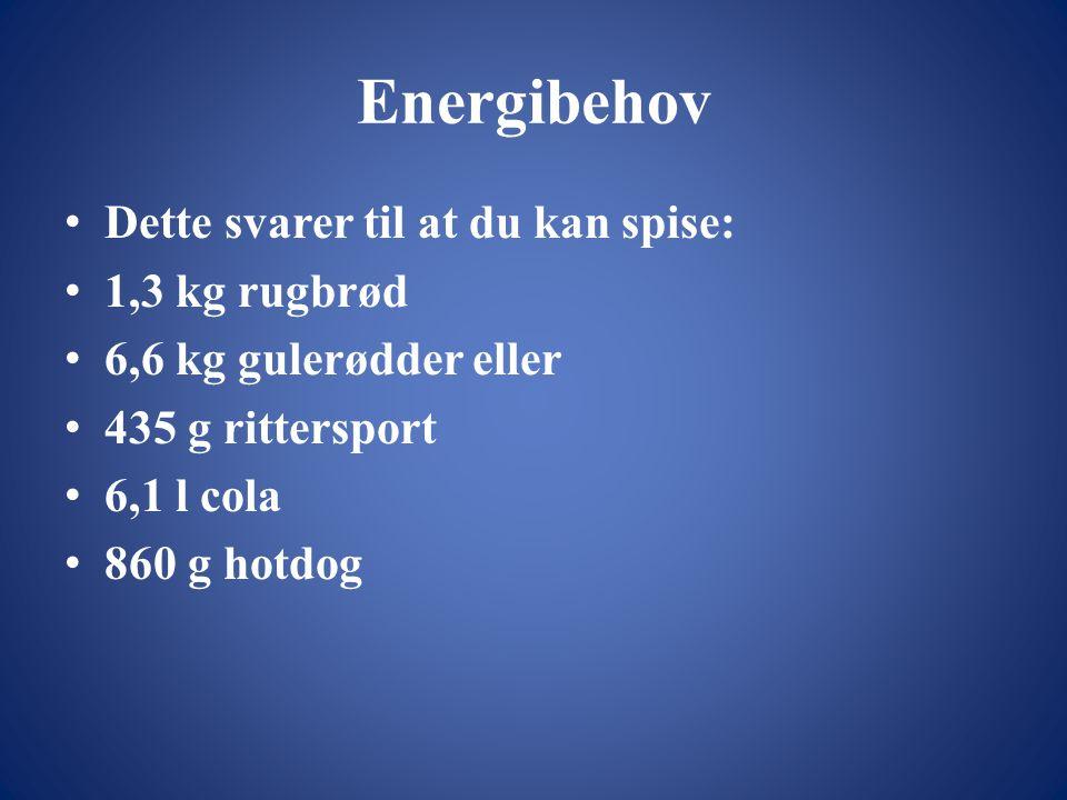 Energibehov Dette svarer til at du kan spise: 1,3 kg rugbrød