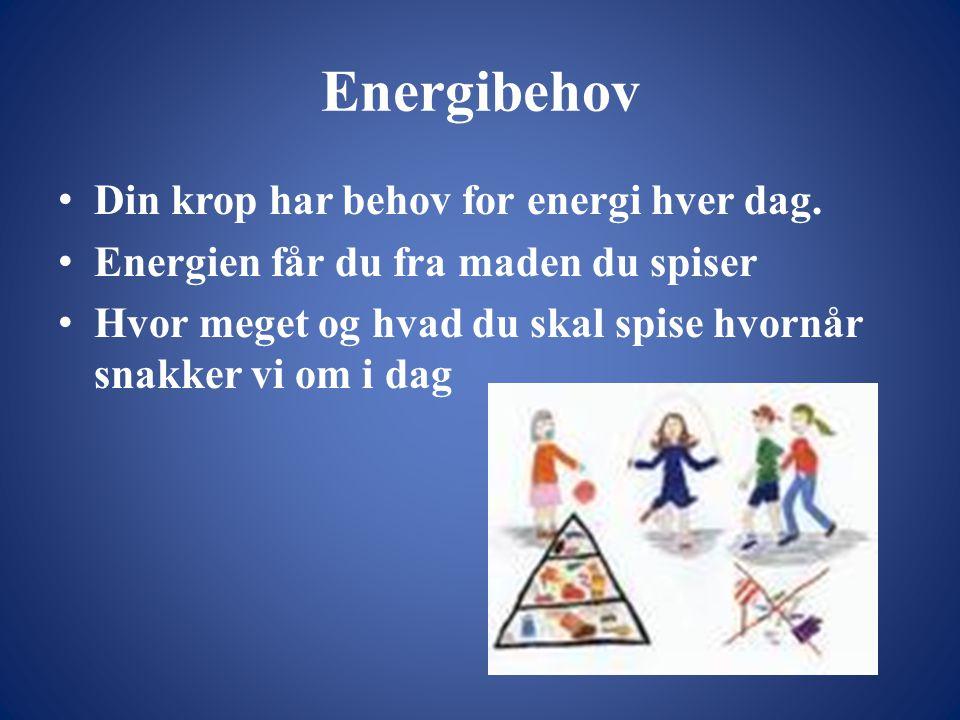 Energibehov Din krop har behov for energi hver dag.