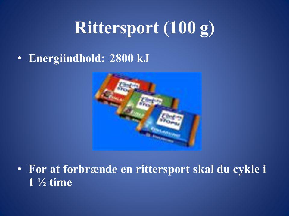 Rittersport (100 g) Energiindhold: 2800 kJ