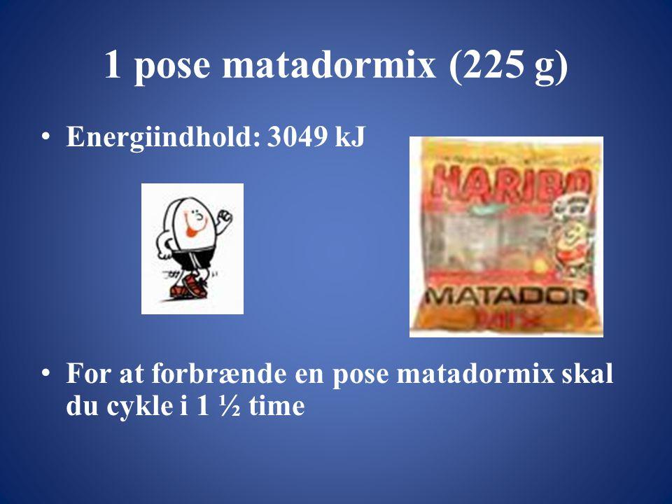 1 pose matadormix (225 g) Energiindhold: 3049 kJ