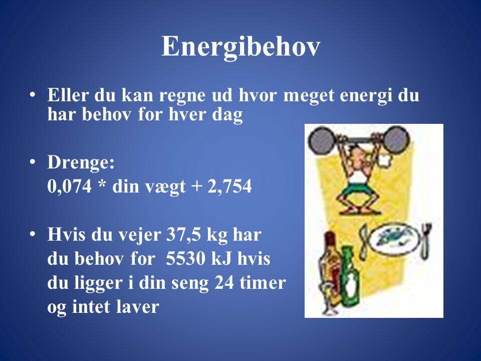 Energibehov Eller du kan regne ud hvor meget energi du har behov for hver dag. Drenge: 0,074 * din vægt + 2,754.