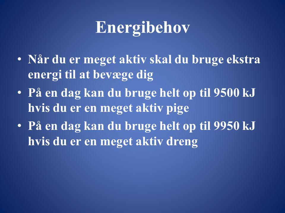 Energibehov Når du er meget aktiv skal du bruge ekstra energi til at bevæge dig.