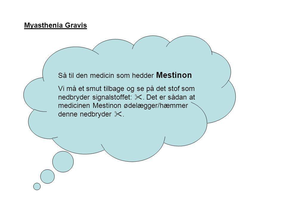 Myasthenia Gravis Så til den medicin som hedder Mestinon.