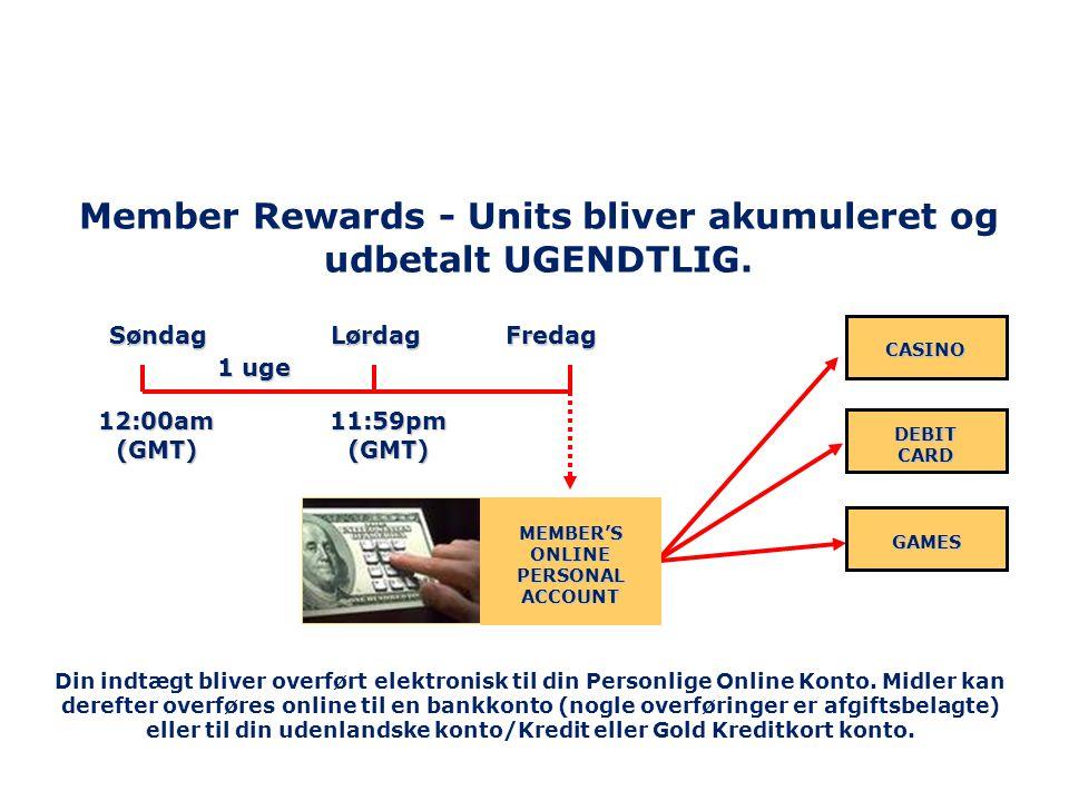 Member Rewards - Units bliver akumuleret og udbetalt UGENDTLIG.