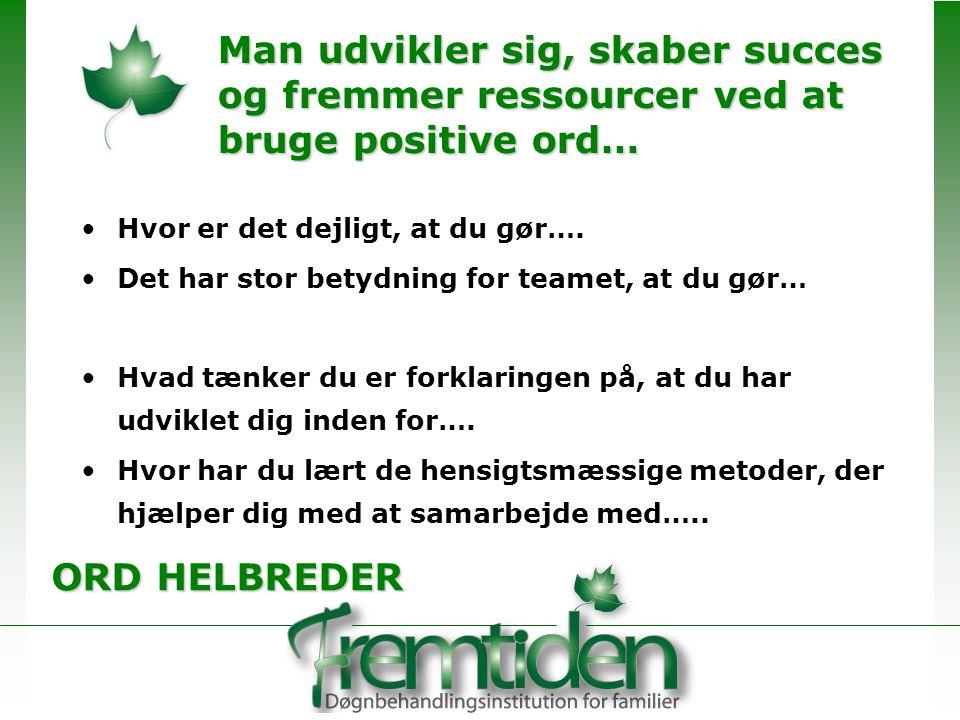 Man udvikler sig, skaber succes og fremmer ressourcer ved at bruge positive ord…