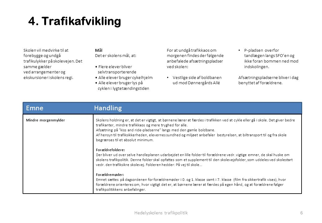 Hedelyskolens trafikpolitik