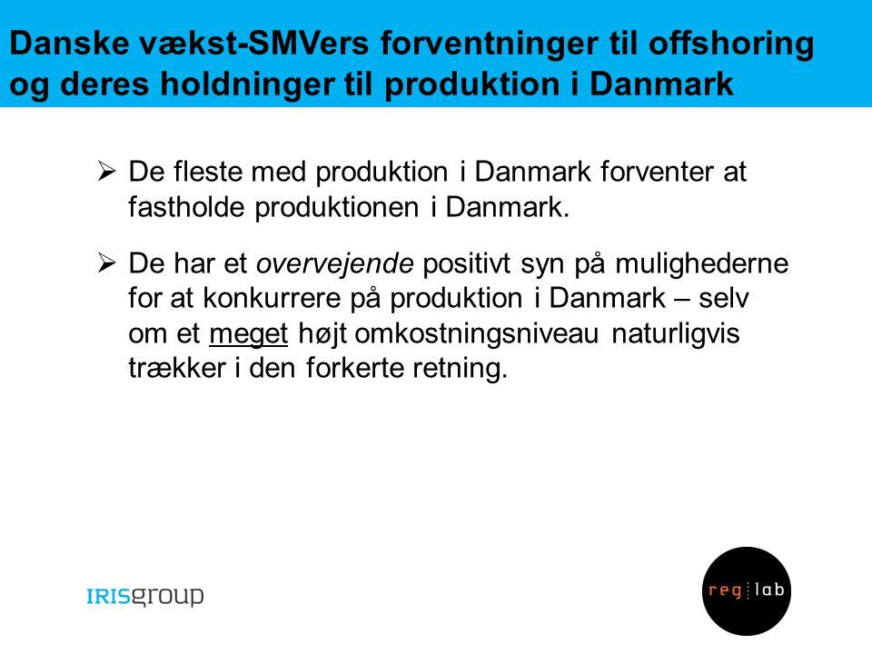Danske vækst-SMVers forventninger til offshoring og deres holdninger til produktion i Danmark