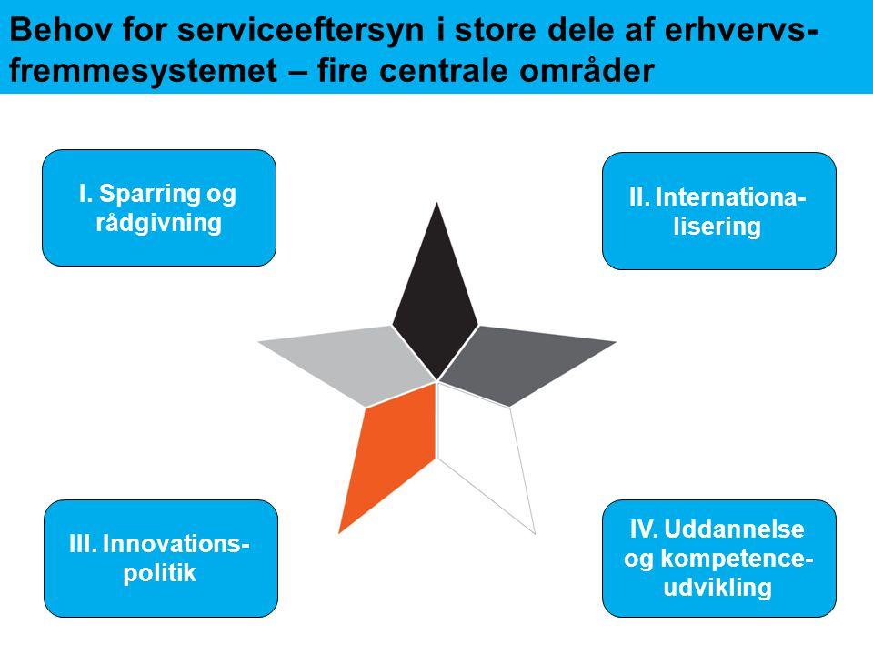 Behov for serviceeftersyn i store dele af erhvervs-fremmesystemet – fire centrale områder