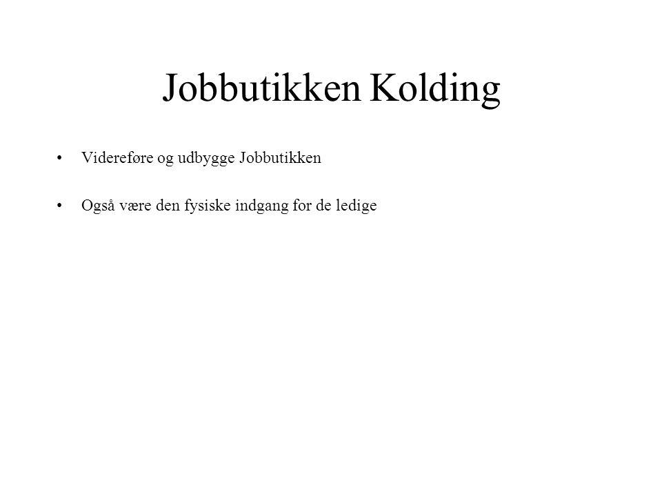 Jobbutikken Kolding Videreføre og udbygge Jobbutikken