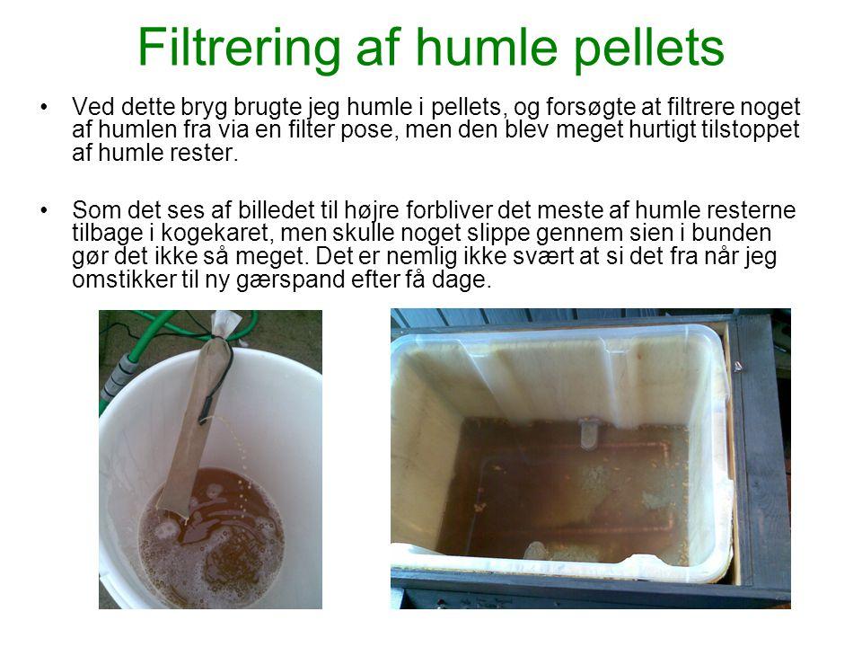 Filtrering af humle pellets