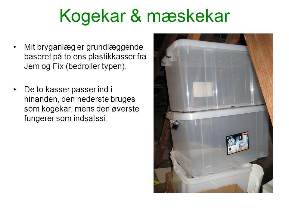 Kogekar & mæskekar Mit bryganlæg er grundlæggende baseret på to ens plastikkasser fra Jem og Fix (bedroller typen).