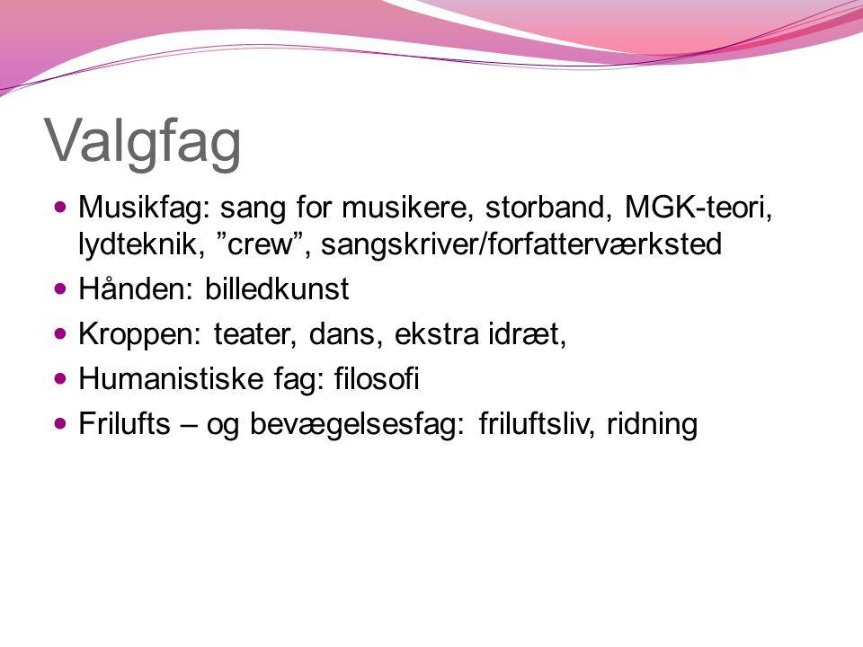 Valgfag Musikfag: sang for musikere, storband, MGK-teori, lydteknik, crew , sangskriver/forfatterværksted.