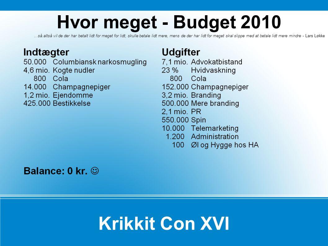 Hvor meget - Budget 2010 Krikkit Con XVI