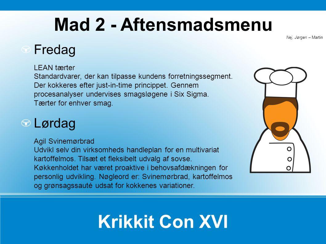 Mad 2 - Aftensmadsmenu Krikkit Con XVI
