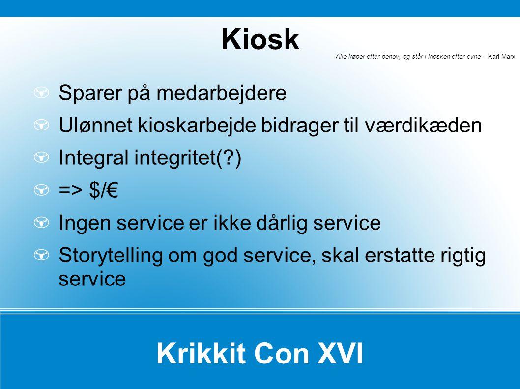 Kiosk Krikkit Con XVI Sparer på medarbejdere