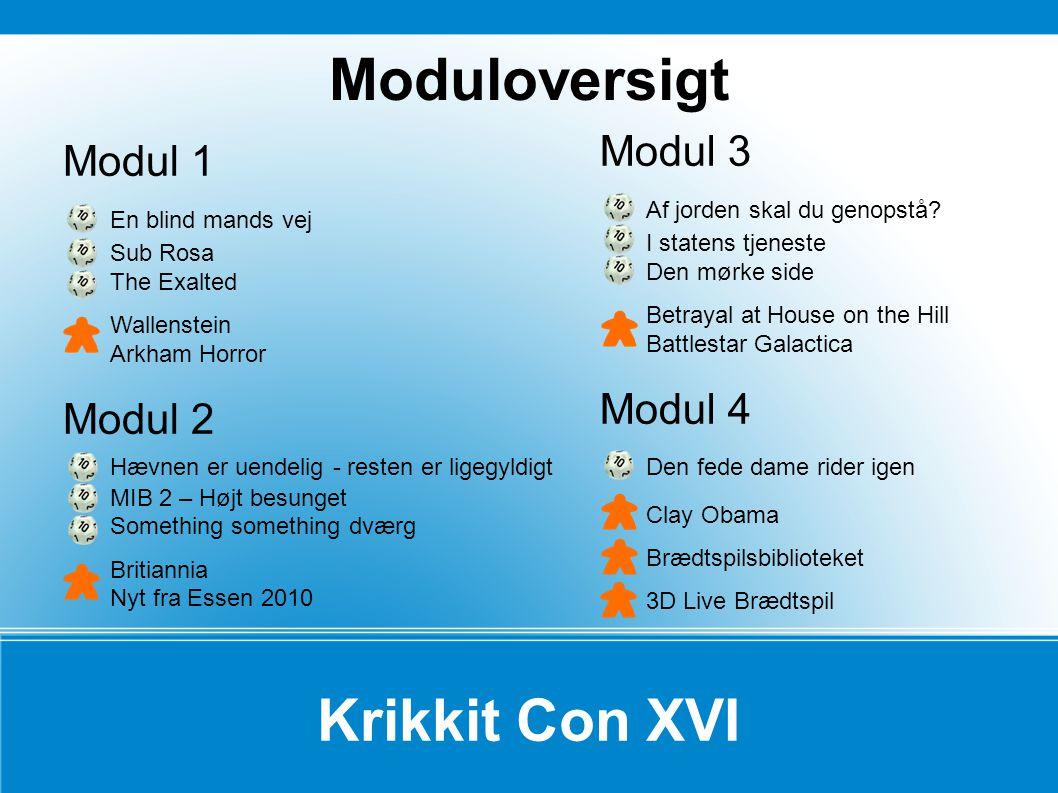 Moduloversigt Krikkit Con XVI