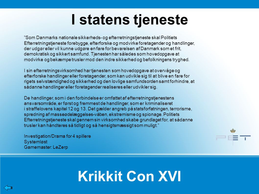 I statens tjeneste Krikkit Con XVI