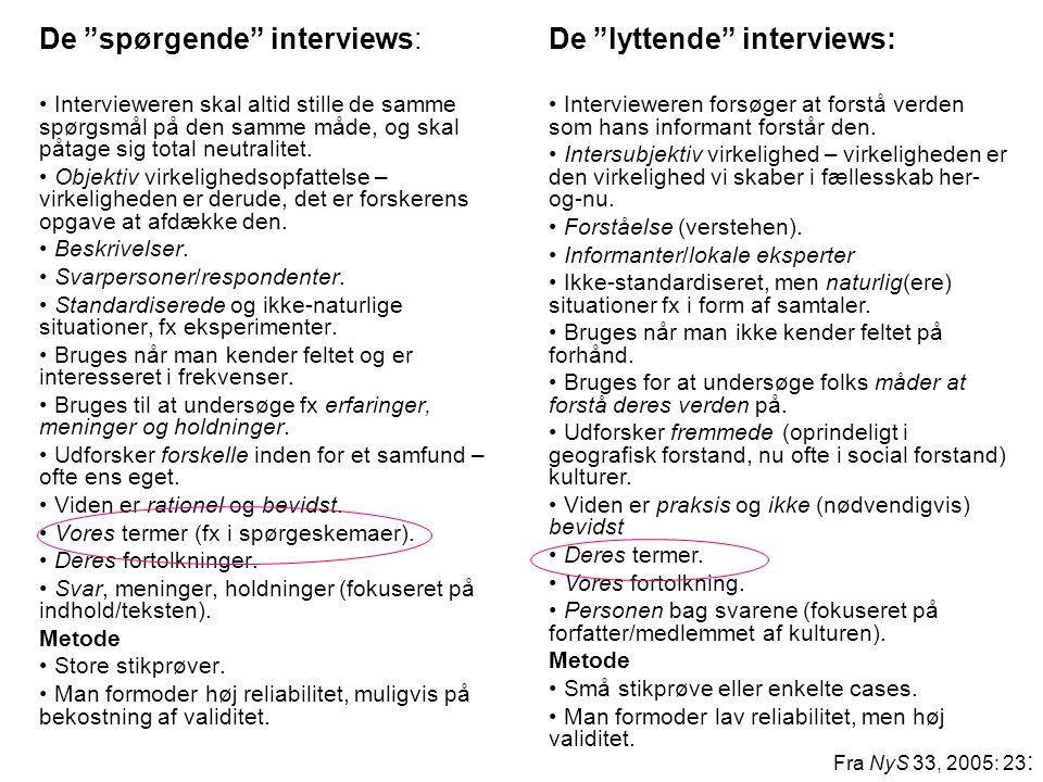 De spørgende interviews: De lyttende interviews:
