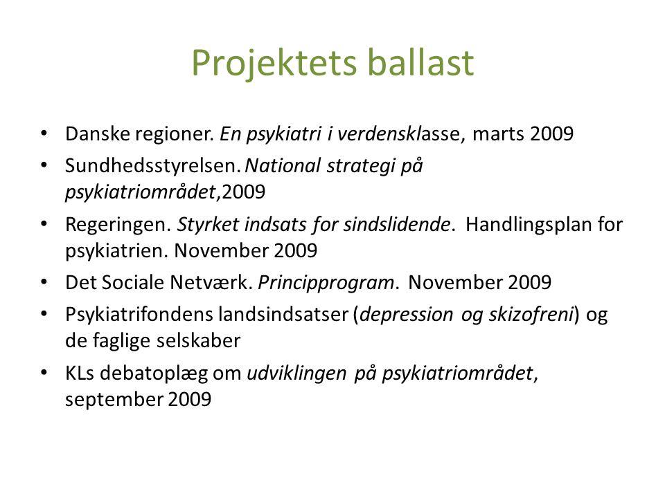 Projektets ballast Danske regioner. En psykiatri i verdensklasse, marts 2009. Sundhedsstyrelsen. National strategi på psykiatriområdet,2009.