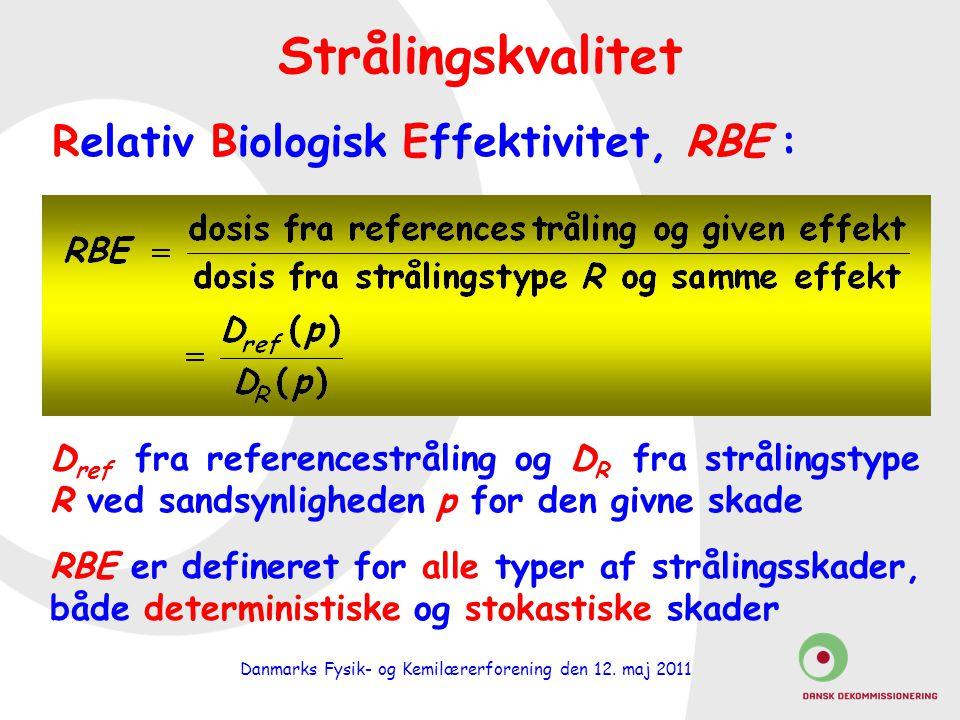 Relativ Biologisk Effektivitet, RBE :