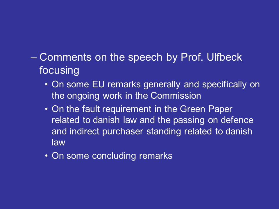 Comments on the speech by Prof. Ulfbeck focusing