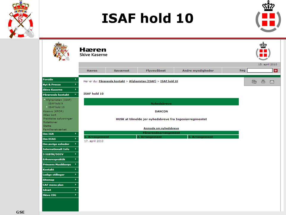 ISAF hold 10 Siden for ISAF10. Her vil fremgå datoer for arrangementer, kunne hentes briefinger for i dag mv.