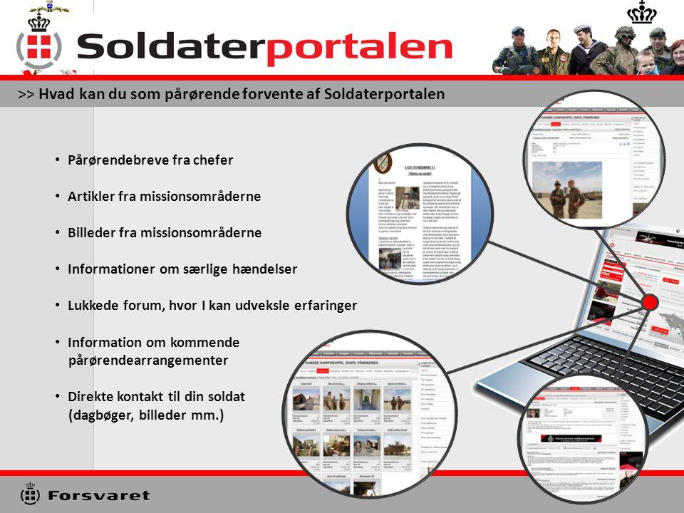 >> Hvad kan du som pårørende forvente af Soldaterportalen