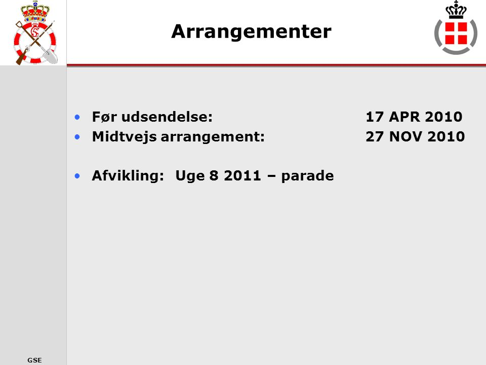 Arrangementer Før udsendelse: 17 APR 2010