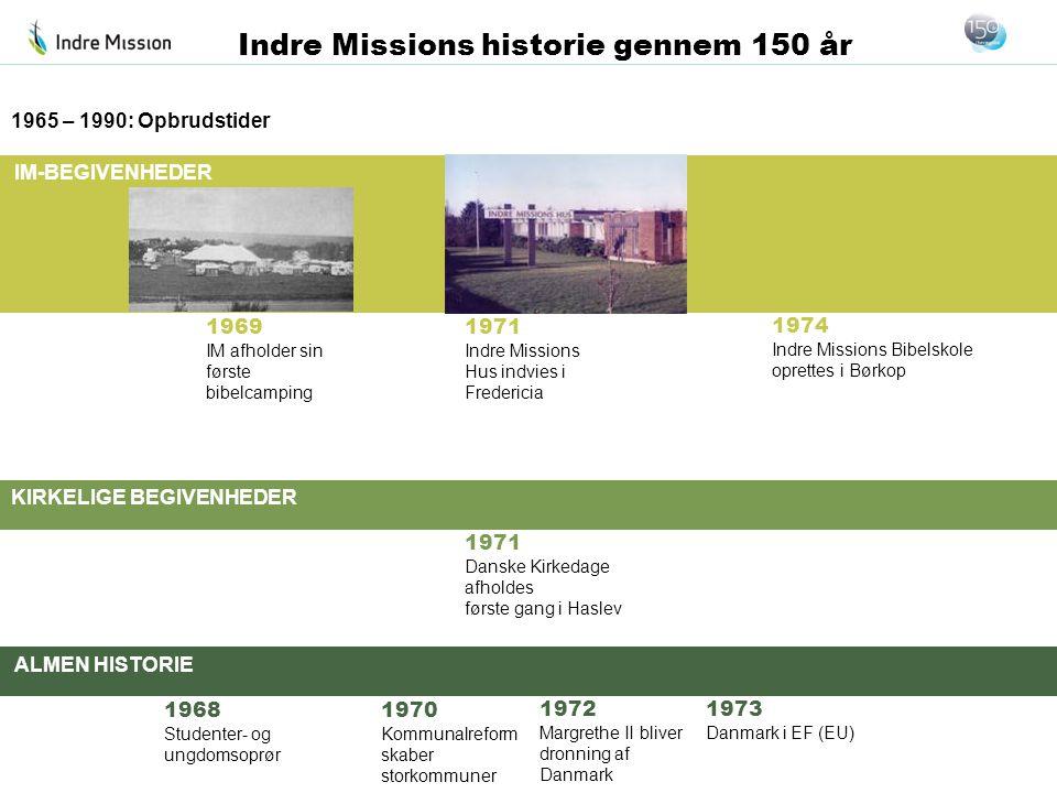 1965 – 1990: Opbrudstider 1969. IM afholder sin. første bibelcamping. 1971. Indre Missions Hus indvies i Fredericia.