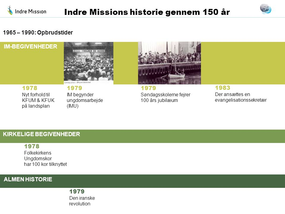 1965 – 1990: Opbrudstider 1978. Nyt forhold til KFUM & KFUK på landsplan. 1979. IM begynder ungdomsarbejde (IMU)