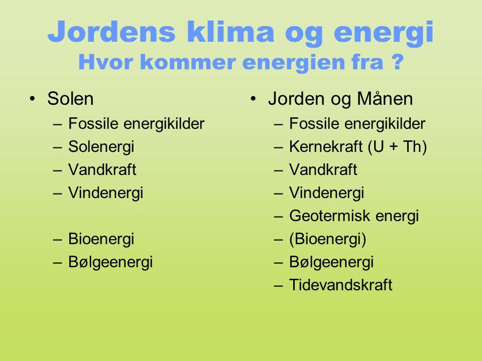 Jordens klima og energi Hvor kommer energien fra