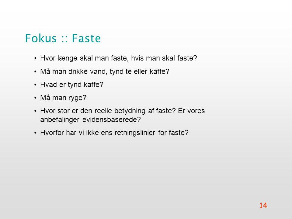 Fokus :: Faste Hvor længe skal man faste, hvis man skal faste